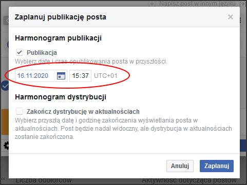 zaplanuj fb